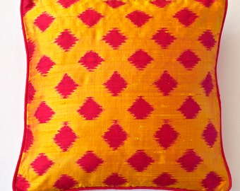Mustard Yellow Raw Silk Ikat Cushion Cover