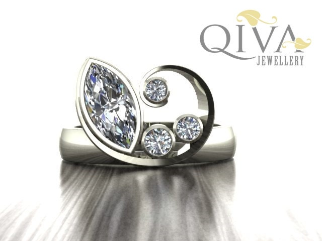 Unique Engagement Ring Marquise Diamond Ring 1 ct by QivaJewellery