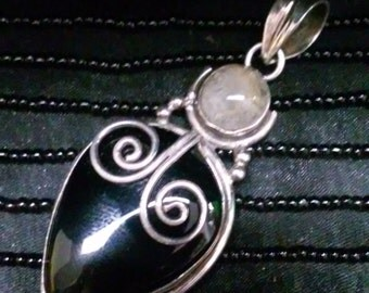 Sterling Silver, Black Onyx and Quartz Pendant
