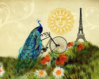 Whimsical Art, Peacock Art, Paris Decor, Eiffel Tower Decor, Paris Art, Bicycle Art, Wall Prints, Vintage Art, Poppies, Daisies, Bike Art