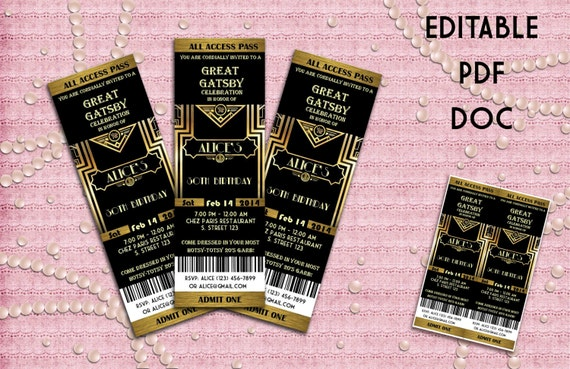 Great Gatsby Style Art Deco Party Invitation Prom Birthday – Prom Invitation Templates
