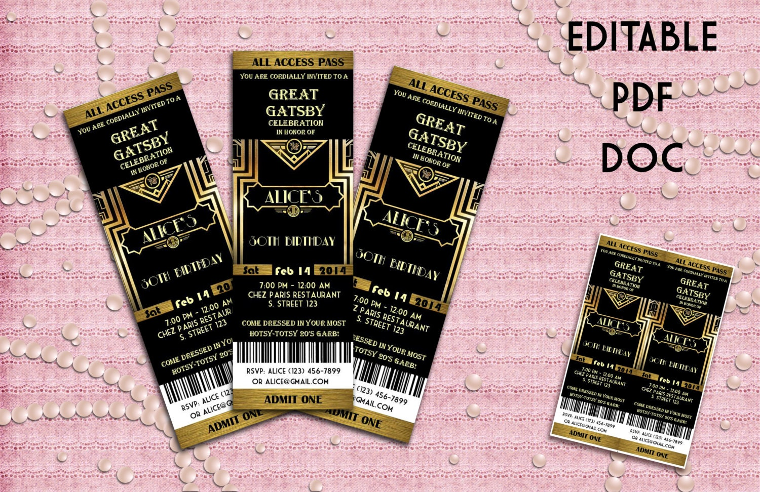 Great Gatsby Style Art Deco Party Invitation Prom Birthday, Party  Invitations  Prom Ticket Template