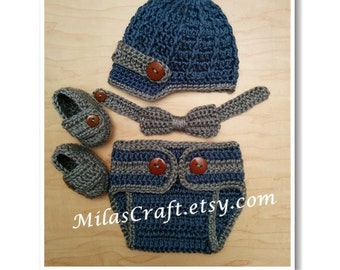 Mix and Match!Crochet Baby Boy Set: Hat,Diaper Cover,Bow Tie,Booties-Loafers,Baby Shower Gift,Photo Prop,Newborn Boy Coming home outfit