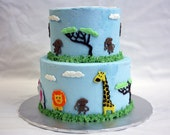 Jungle Animal Cake Decorations (perfect for baby showers, birthdays, etc) Includes monkey, elephant, giraffe and lion.