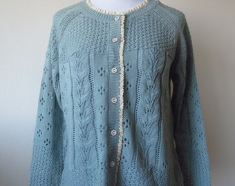 Crochet Lace Cardigan with Lace Hem One Size Blue Color