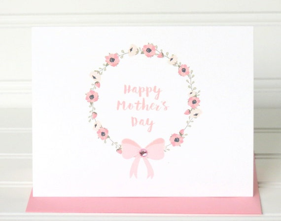 Mother's Day Greeting Card with Pink Floral Wreath, Matching Colored Envelope, Seal, Postage Stamp, and Personalized for the Recipient
