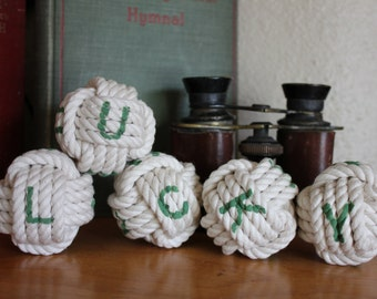 Saint Patrick's Day Lucky sign - lucky decor nautical rope knots- monkey fist knots - St Patty's Day nautical decor