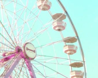 Mint Ferris Wheel, Mint Blue and Pink, Ferris Wheel, Mint Blue Nursery, Mint Blue Carnival, Mint Blue Kids Room, Carnival Photography, 8x10