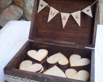60 Hearts in a Wooden box-set of 60 shape hearts-alternative guest book-Personalized box