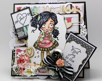Dollie with hearts Card