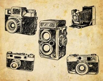 Hand Drawn Cameras Clip Art, Cameras Clipart, Vintage Digital sketchy Cameras,  Vector EPS - INSTANT DOWNLOAD