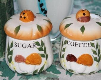 Vintage Merry Mushroom Sugar and Coffee Canisters