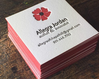 Custom Letterpress Business Cards / Personalized Calling Card Square / Simple Elegant / Unique / Printing / Poppy Flower / 50