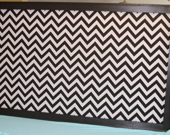 "Framed Fabric Bulletin Board Extra Large 38"" x 60"" Pin Board Black and white chevron Framed Cork Board Wedding Kitchen Office Bulletin Board"