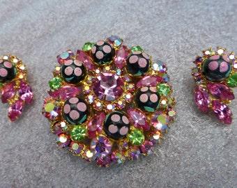 JULIANA (DeLizza & Elster) PINK Paisley Polka Dot Brooch, Earrings