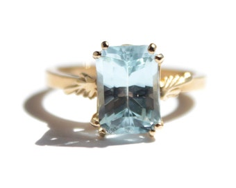 Rectangle Barion Cut Blue Topaz Ring (277)