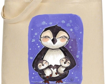 Penguins in the snow tote bag