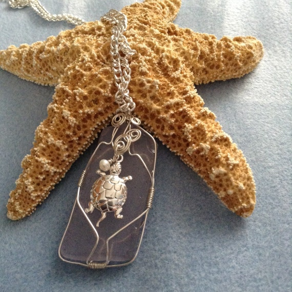 Lavender Wire Wrapped Sea Glass (Recycled) TG617178