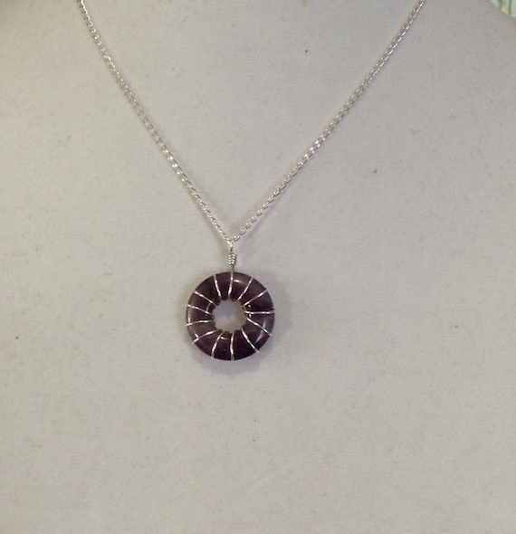 Amethyst Wire Wrapped Donut on Sterling Silver Necklace NSS6151787
