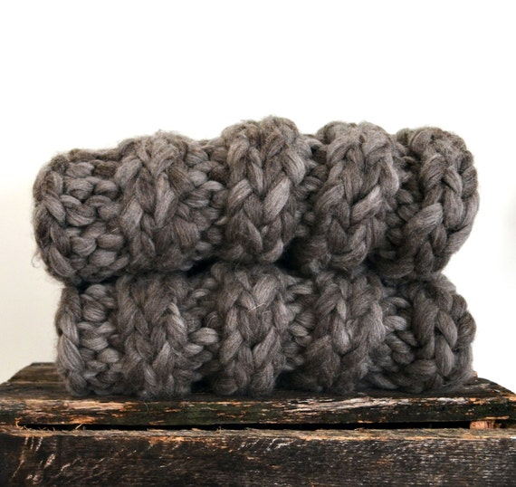 super chunky knit throw blanket dark gray wool. Black Bedroom Furniture Sets. Home Design Ideas