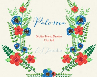 Clipart digital Hand Drawn. Paloma. 9 PNG files. Red and blue flowers. Folk. Gipsy. Summer colors. Wedding invitations. post card.