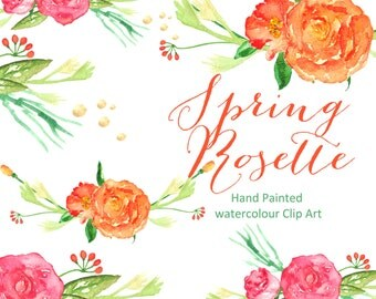 Watercolor Clipart digital Hand Drawn. Spring Rosette composition. Romantic wedding clipart, Orange and bright pink floral clip art.