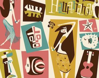 Hawaiiana, Tiki, Wall decor, Polynesian pop, Mid Century Modern Art Print Poster Vintage Retro Style.A3size