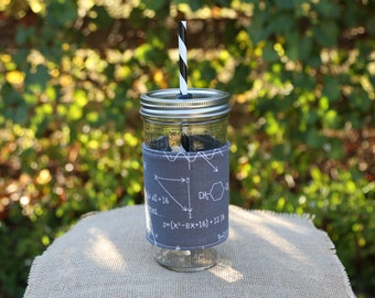 Mason Jar Tumbler 24 oz | Mason Jar To Go Cup | BPA Free Lid and Straw | Free Personalization | Equations Fabric Sleeve