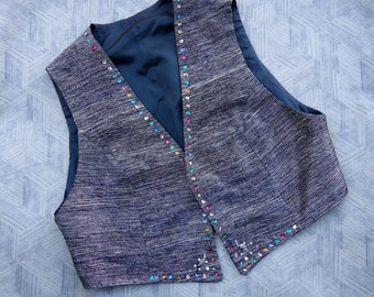 Silver silk waistcoat, woman waistcoat, Vintage clothing, Vintage waistcoat, Silver shantung silk, silk vest,Christmas gifts, gifts for her,