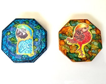 """Set of 2 Alcohol Ink """"Exotic Birds"""" Up-Cycled Tile Magnets"""