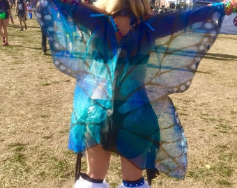 Monarch Butterfly Fairy Rave Festival Isis Wings in Blue