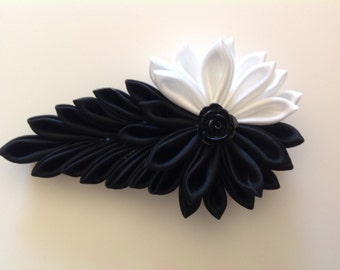 Kanzashi Flower, Tsumami Kanzashi, Resin Flower, Black & White Ribbon Flower
