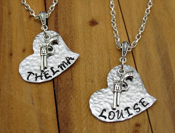 thelma louise inspired stamped metal necklace set