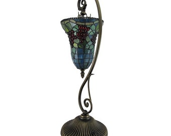 Hanging Cup w/ Grapes Stained Glass Tiffany Style Art Deco Table Lamp (TL3795)