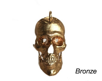3D Printed Skull Pendant Solid Bronze Skull Jewelry Printed from CT Scans