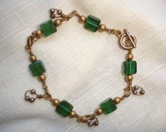 Antique brass pillow bead bracelet