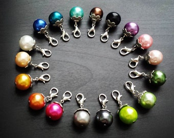 Pearl Dangle Charms for Floating Lockets Necklaces or Charm Bracelets-Gift Idea