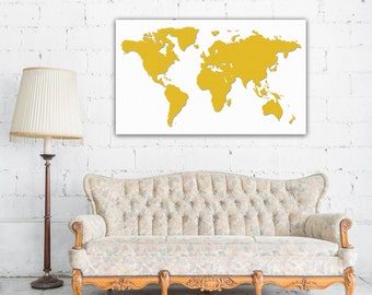 Gold World Map Canvas - Gallery Wrapped Canvas Print - Ready to Hang.