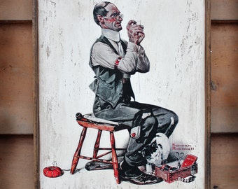 Vintage wooden sign 'Man Threading a Needle' Norman Rockwell reproduction