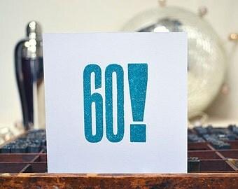 Letterpress 60th Card