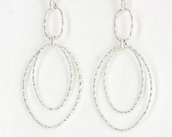 Vintage Sterling Silver  Ovals, Long  Earrings 2.9g U3838