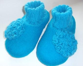 Felted wool slippers, felted slippers, wool slippers, felt slippers, house shoes, womens slippers, turquoise slippers. Handmade to order