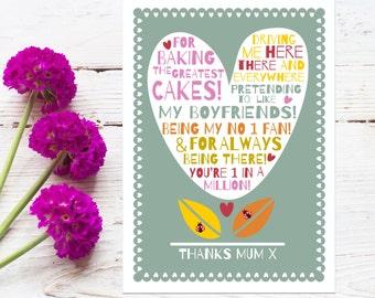 Mothers Day Giclee Print 'Thanks Mum'