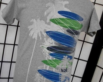 Hang Ten Surf Boards & Palm Trees heather gray cotton polyester tee shirt small s