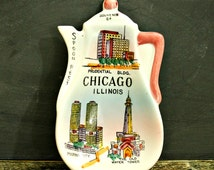 Chicago Souvenir Spoon Rest, Kitchen Kitsch, Collectible Souvenir, Chicago Souvenir, Retro Kitchen Decor, Kitsch Decor