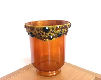 Vintage vase, Gold glitter vase,   Candle holder, Amber Glass Vase with gems,Handmade vase with amber  gems