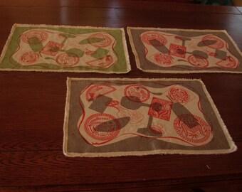 Robert Wert original hand printed place mats from the 1950s/60s: buttermolds