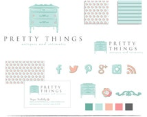 Hand Drawn Branding Package - Business Identity -  Premade Logo - Customizable - Business Card - Social Media Icons - Furniture - Antiques