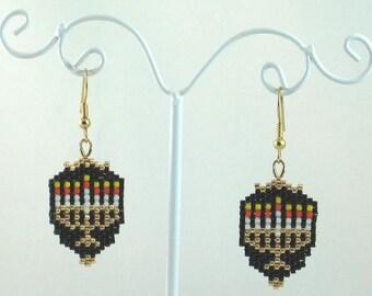 Jewish Menorah Beaded Earrings - Hanukkah