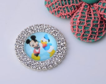 Micky And Mouse Rhinestone Embellishment 20pcs/lot 32MM Flat Back Scrap Booking Hair Bow Center Kid Craft Making